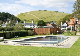 Outdoor swimming pool at Bishops B&B in Lulworth Cove